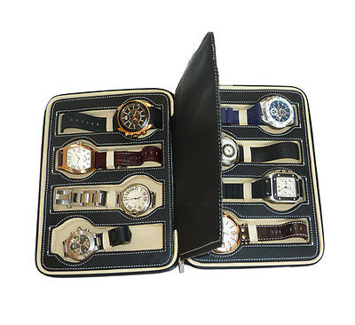 8 WATCH BLACK LEATHER ZIPPERED TRAVEL COLLECTOR ORGANIZER PADDED CASE MENS GIFT