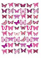 54 mixed selection of butterflies rose cake edible rice wafer approx 4cm BD2