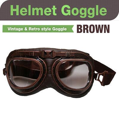 Motorcycle Vintage & Retro Style helmets Goggles Brown