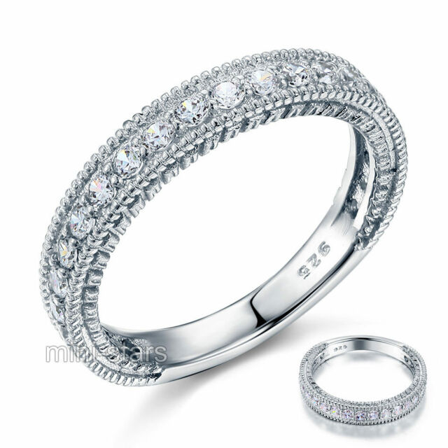 Vintage Style Created Diamond Sterling 925 Silver Wedding Eternity Ring FR8099