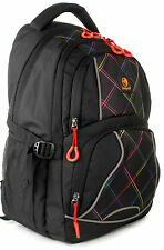 LAMPART Aster Black Multicheck Casual Backpack, School Bag 30 Ltrs Capacity