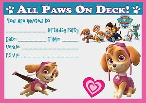 Image Is Loading PAW PATROL SKYE BIRTHDAY PARTY INVITATIONS INVITES WITH