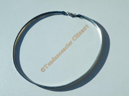 Chaine Ras de Cou Cleopatre 47 cm Argent Acier Inoxydable Maille Serpentine 6 mm