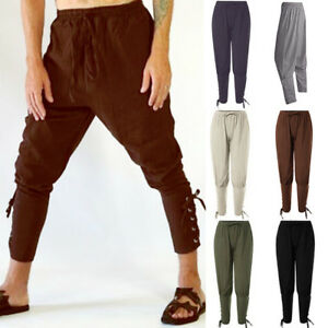 Men-Medieval-Viking-Pants-Renaissance-Lace-Up-Bandage-Trousers-Costume-Victorian
