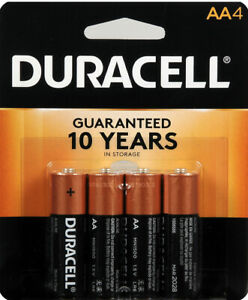 Duracell CopperTop AA Alkaline Batteries - Long Lasting, All-Purpose 4 Counts