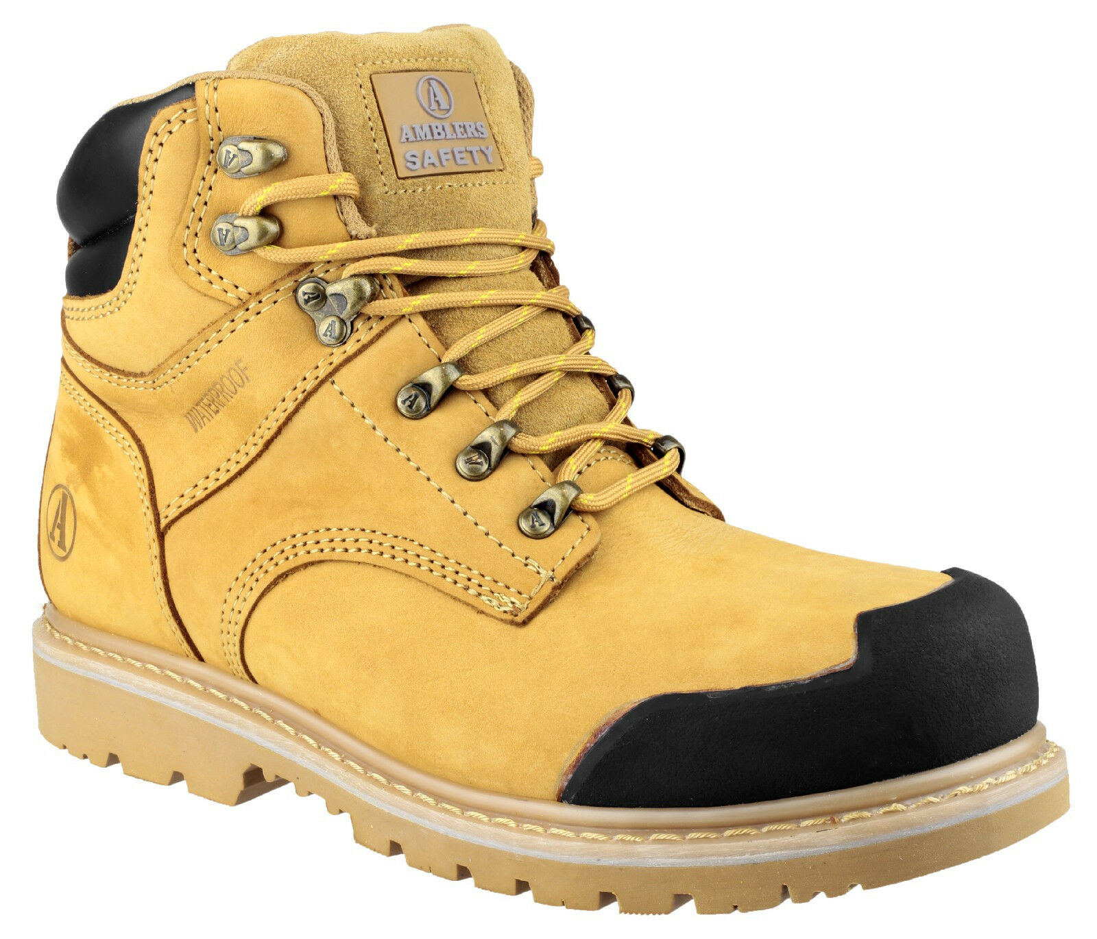 Linea Uomo Impermeabili Stivali di Sicurezza/Tan Brown in acciaio Puntale Work Boots laced Amblers