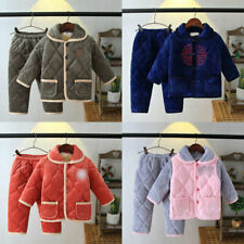 Kids Pajamas sets Girls Boys Warm Flannel Sleepwear Homewear Nightwear Thicker