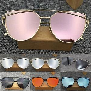 de45b61ae4a95 Image is loading Women-039-s-Sunglasses-Mirror-Flat-Lens-Fashion-