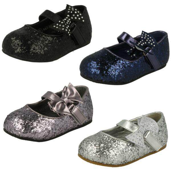 100% Vero Ragazze Spot On Glitter Fiocco Party Scarpe Basse Scarpe