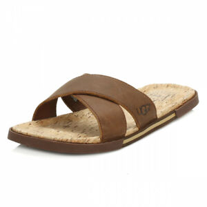 1c30bbf3aee Details about Ugg Double Strap Leather Slide Sandals - Brown Model Ithan  Cork £37.99