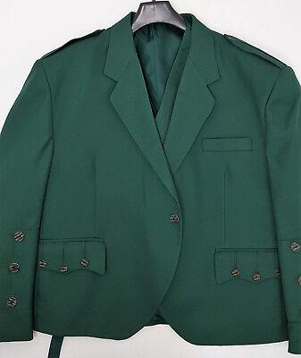 60s Verde Crail Kilt Giacca E Gilet Scozzese Made Osso Bottoni Nuovo One Off Sample-