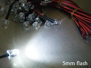 50 PCS Red blinking 5mm Pre Wired LED 9V 12V DC 20cm flashing bulb light 5v