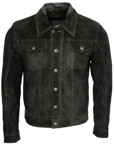 Men/'s Trucker Casual Black Goat Suede Leather Shirt Jeans Jacket