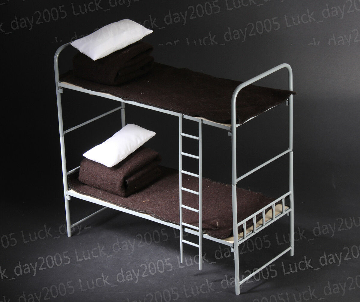 Toy Model WWII German 1 6 Scale Scale Scale Metal & Wooden Bunk Bed Set a81902