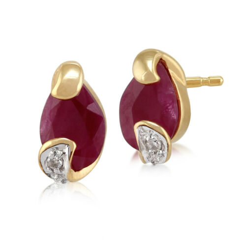 9ct Yellow Gold 0.88ct Ruby & Diamond Stud Earrings