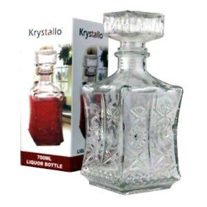 LIQUOR WHISKEY DECANTER VINTAGE GLASS CRYSTAL CLEAR BOTTLE WINE STOPPER 24 Oz