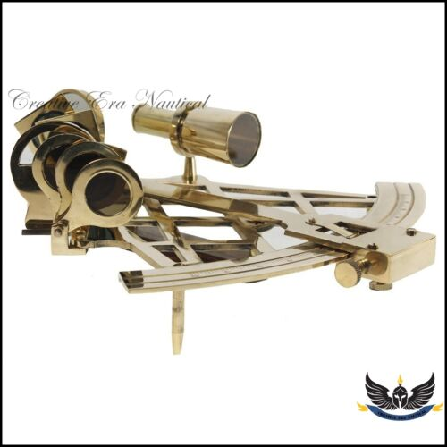 """Solid Brass 4/"""" Sextant Nautical Working Instrument Astrolabe Ships Maritime Gif"""