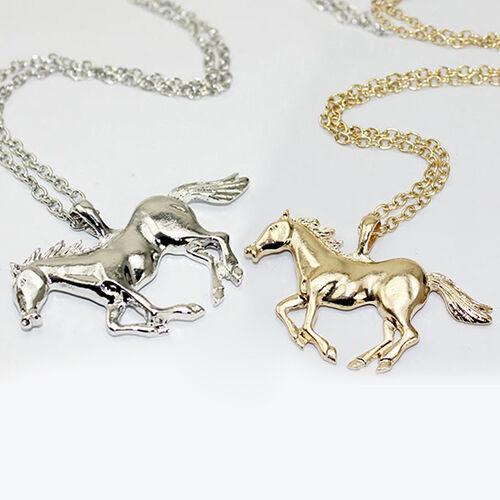 AA Eg /_ Damen Luxuriös Rennende Pferd Anhänger Langer Pullover Halskette