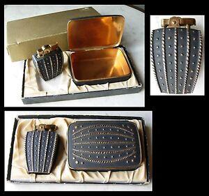 Briquet-et-boite-a-cigarettes-annees-50-dans-sa-boite-d-039-origine-Vintage-lighter