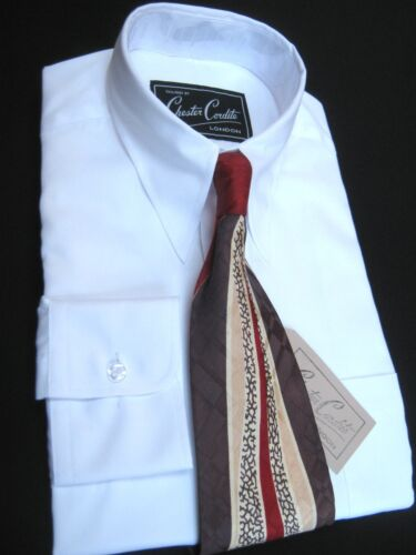 1940s Style Mens Shirts 1940s Vintage Style White Mens Spearpoint Collar Shirt by Chester Cordite £60.00 AT vintagedancer.com