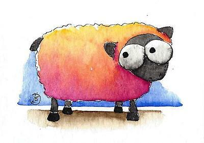ACEO Original watercolor painting whimsical farm animal colorful sheep