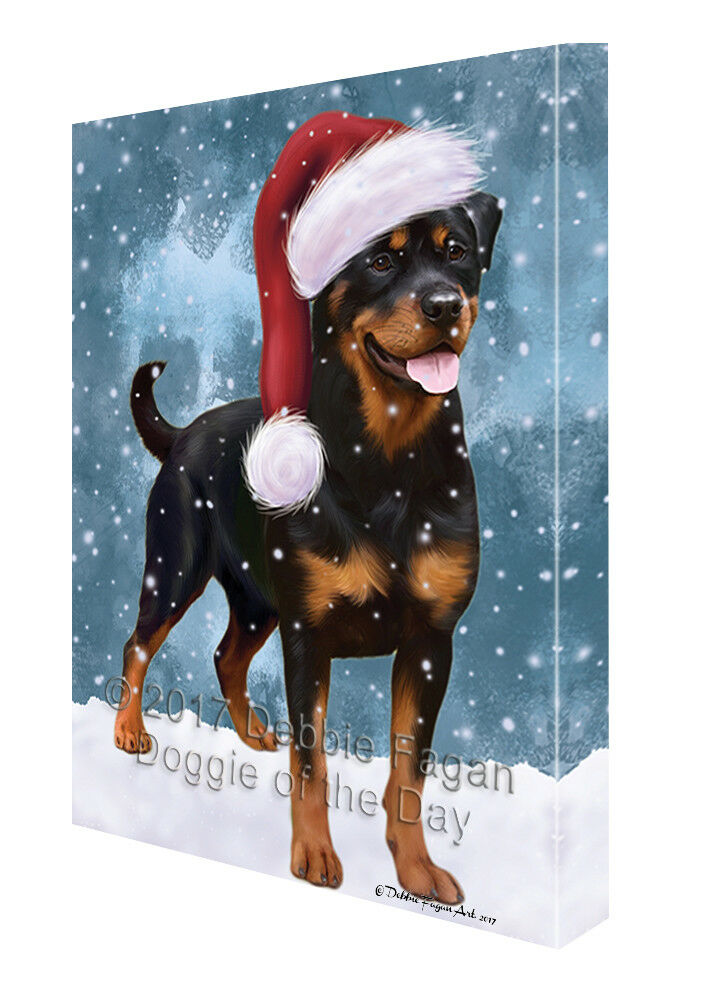 Let it Snow Christmas Holiday Rottweiler Hund Canvas Wand Kunst T69