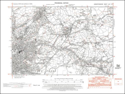 Llanelly Llwyn-hendy Dafen old map Carmarthen 1948: 58NE Wales Felin-foel