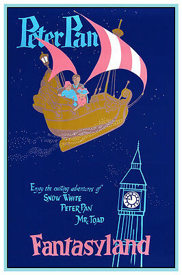 "VINTAGE DISNEY COLLECTOR'S POSTER 12"" x 18"" - FANTASYLAND - PETER PAN"