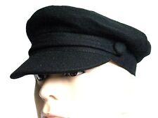 SALE Captain Hat Black Wool Vintage Retro Fiddler 1960s Style Cap Medium 57 cm