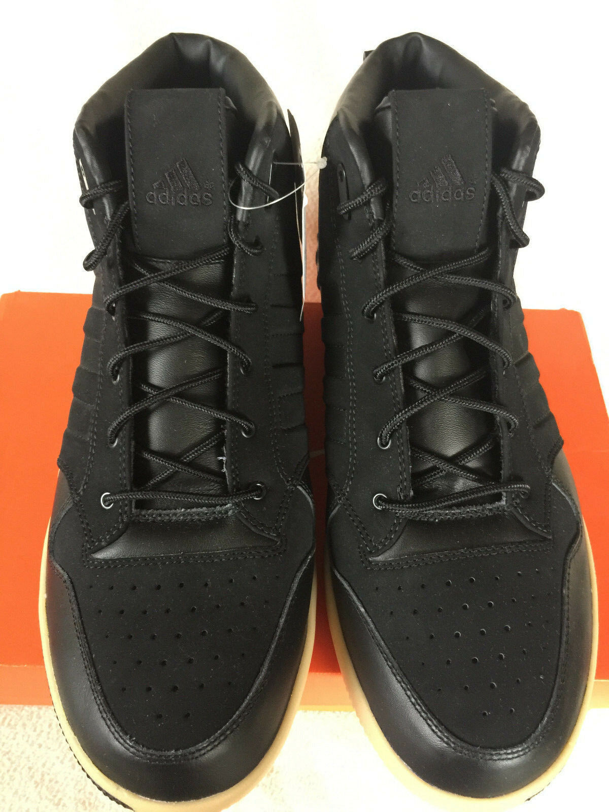 Adidas Lux Mid Mid Mid 677620 Luxury Gum Black Leather Basketball shoes Men's 11.5 new 622491