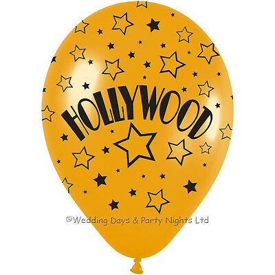 10 Gold + Black Hollywood Helium / Air Balloons Prom Birthday Party Decorations