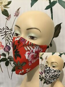 FACE MASK REVERSIBLE LEOPARD FLORAL washable Fashion Designer French Fabric AU