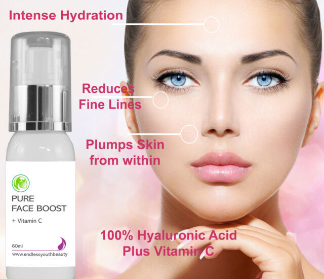 Pure 100% Hyaluronic Acid + 20%Vitamin C Anti Ageing Skin Plumping Serum 60 ml