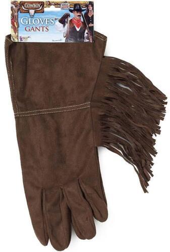Cowboy Fringe Gloves Western Fancy Dress Halloween Costume Accessory 2 COLORS