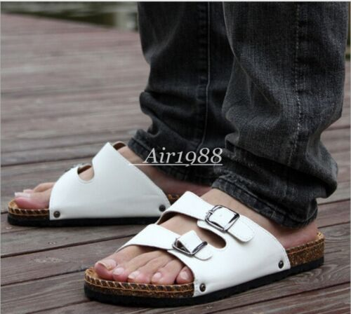 New Summer Beach Patent Leather Mens Open Toe Buckle Comfortable Sandals Slipper
