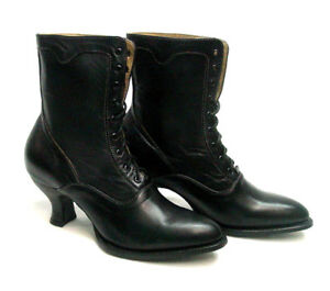 Old-West-Granny-Oak-Tree-Farms-Eleanor-Vintage-Style-Black-LEATHER-Boot-sz-6-11
