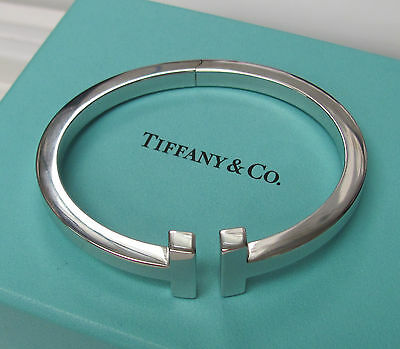 Authentic Tiffany & Co. New Collection 18KT White Gold Square T Bracelet