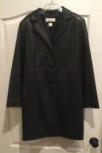 Preston-and-York-women-s-lambskin-leather-coat-black-lined-jacket-size-Medium
