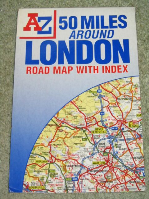 Map Around London.50 Miles Around London Road Map By Geographers A Z Map Company Sheet Map Folded 1998