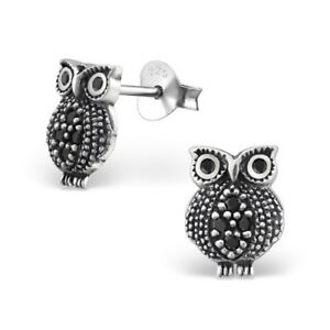 a035f55a0 Image is loading 925-Sterling-Silver-Owl-with-Black-Cubic-Zirconia-