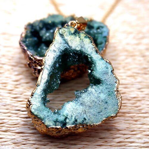 Geometrische Natürlich Irregular Rock Druzy Stonet Achat Geode Anhänger cRUWK