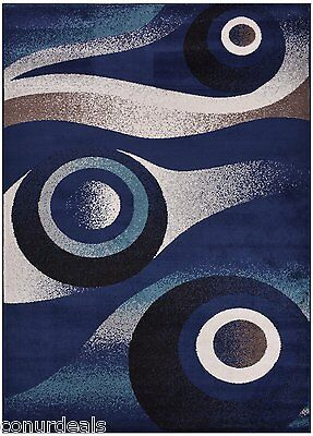 Navy Blue White Black Abstract Circles Design Area Rug Mat