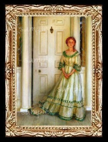 Lady in Green Miniature Dollhouse Doll House  Picture