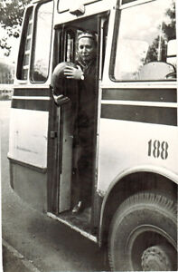 1970-039-s-Soviet-photo-MAN-STANDS-AT-BUS-DOOR-AND-HOLDS-WATERMELON