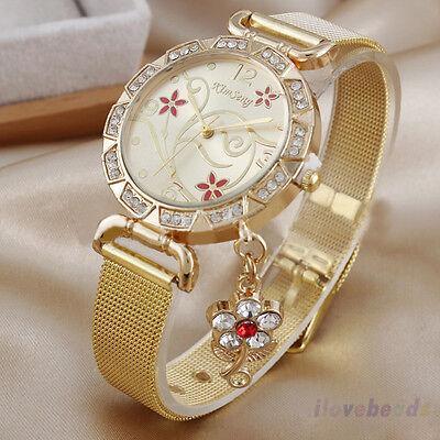 Womens Fashion Stainless Steel Gold Pendant Watch Rhinestone Quartz Wrist Watch