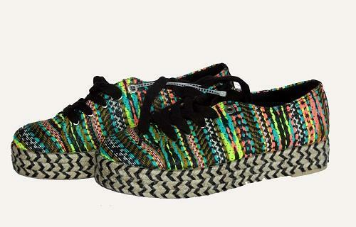 Sam Edelman Circus Neon Woven BRANDON Stripe Espadrille Platform Sneakers Ws NEW
