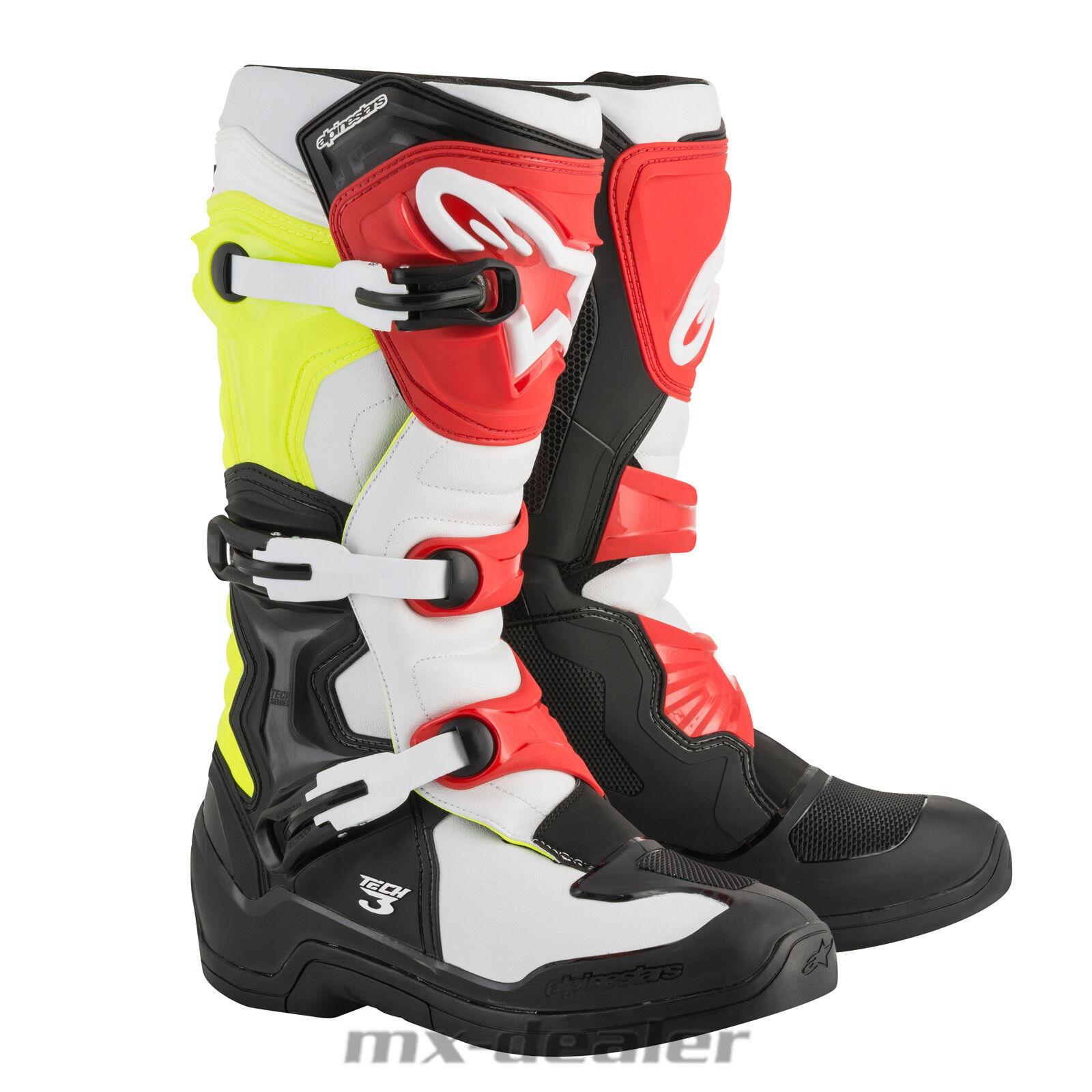 18 Alpinestars neuf TECH3 Technologie 3 botte noir jaune néon motocross enduro