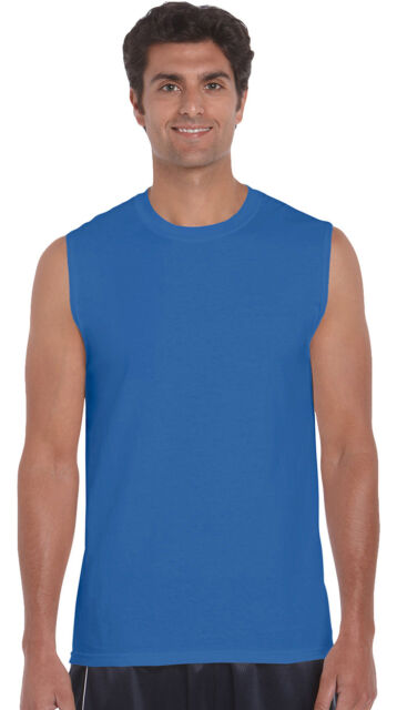 Gildan Men's Hemmed Bottom Sleeveless 100% Cotton Sport Crewneck T-Shirt. G2700