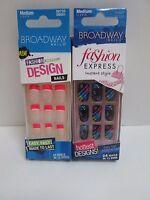 Broadway Glue On Nails Medium Length French Hot Pink Tips & Flash Design