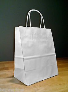 8 x 4.75 x 10.25 White Paper Cub Shopping Gift Bags with Rope Handles